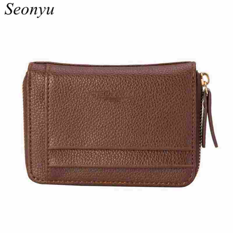 Seonyu Zipper Men Wallet Short Card Holder Money Bag Organizer Coin Wallet For Credit Cards Male Purse Billetera Hombre #5100 denim small mens wallet canvas men wallets leather male purse card holder coin pocket cloth zipper money bag cartera hombre