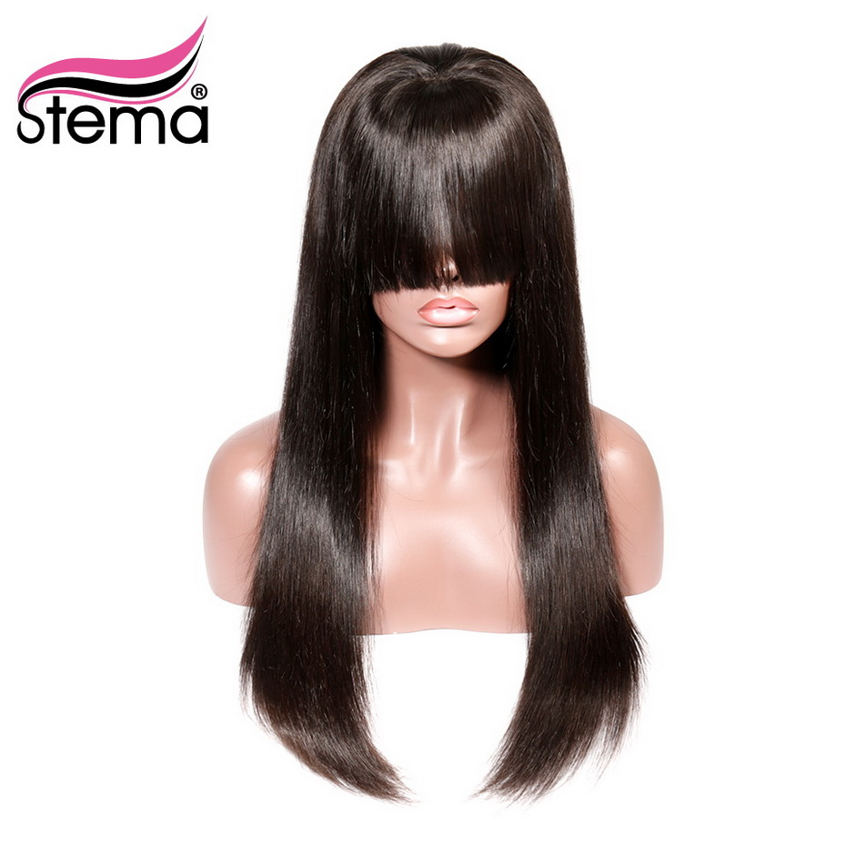 Stema 8 26 Straight Lace Front Wig With Bangs 13 4 Natural Color Brazilian Remy Human