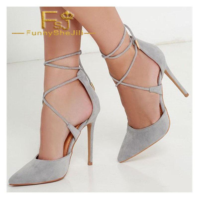 Grey Strappy Heels Closed Toe Stiletto Heel Pumps Suede -7576