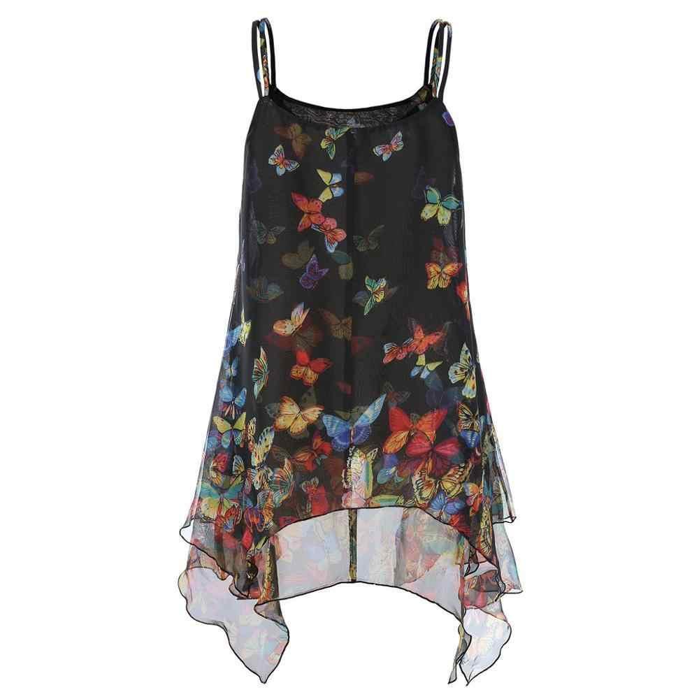2019 Summer Lady Mouwloos Vlinder Print Onregelmatige Hem Cami Tank Tops Lady Trim Leuke Zoete Losse Tank Tops Camis Cd