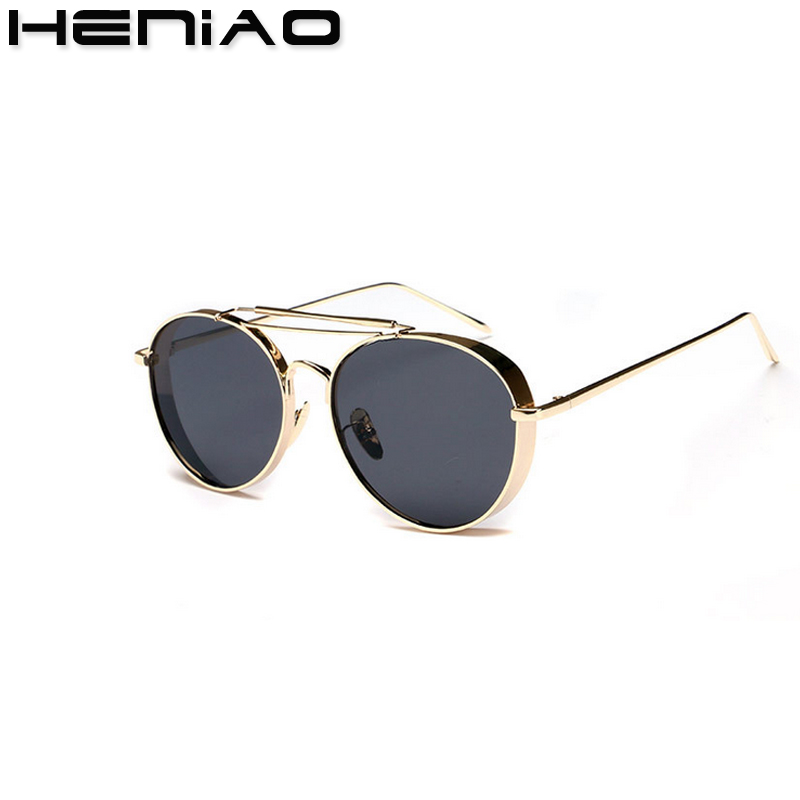HENIAO Round Metal Sunglasses Steampunk Women Fashion Glasses Brand Designer Retro Vintage Sunglasses UV400