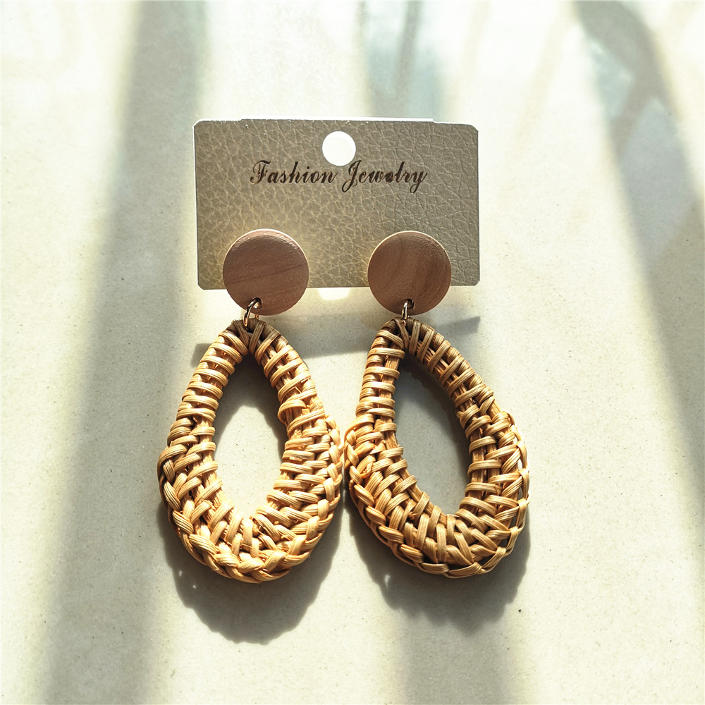 Korean Style Handmade Rattan Straw Long Drop Earrings