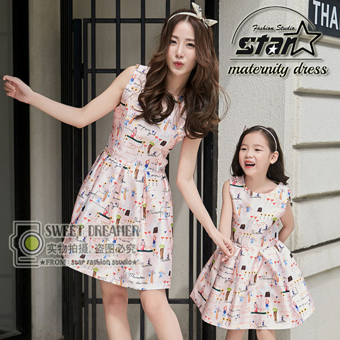 Mom and Daughter Dress Matching Family Look Girl and Mother Dress Summer Style Fashion Print Sleeveless Matching Clothes