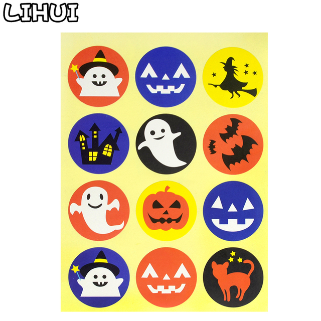 10 PCS Halloween Pumpkin Stickers Toys for Children Party Decoration