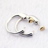 Earrings for Women 925 Sterling Silver Jewelry Two Hearts Hoop Earrings 14k Real Gold Valentines Day Gift Fine Jewelry FLE111K