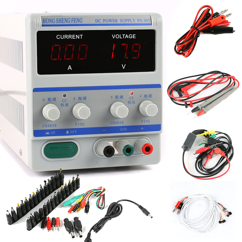 PS-305 Adjustable Digital Programmable DC Power Supply 30V 5A Laboratory Power Supply 110V 220V Phone Repair Kit DC Jack Set original lw mini adjustable digital dc power supply 0 30v 0 10a 110v 220v switching power supply 0 01v 0 01a 34 pcs dc jack