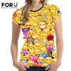 FORUDESIGNS 2017 Summer Casual Women T Shirt Funny 3D Emoji Printed T Shirt For Girls Womens