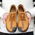 2017 para hombre Zapatos Casuales para hombre zapatos de lona para los hombres zapatos de los hombres Planos de la manera de Cuero marca de moda ante Zapatos de hombre