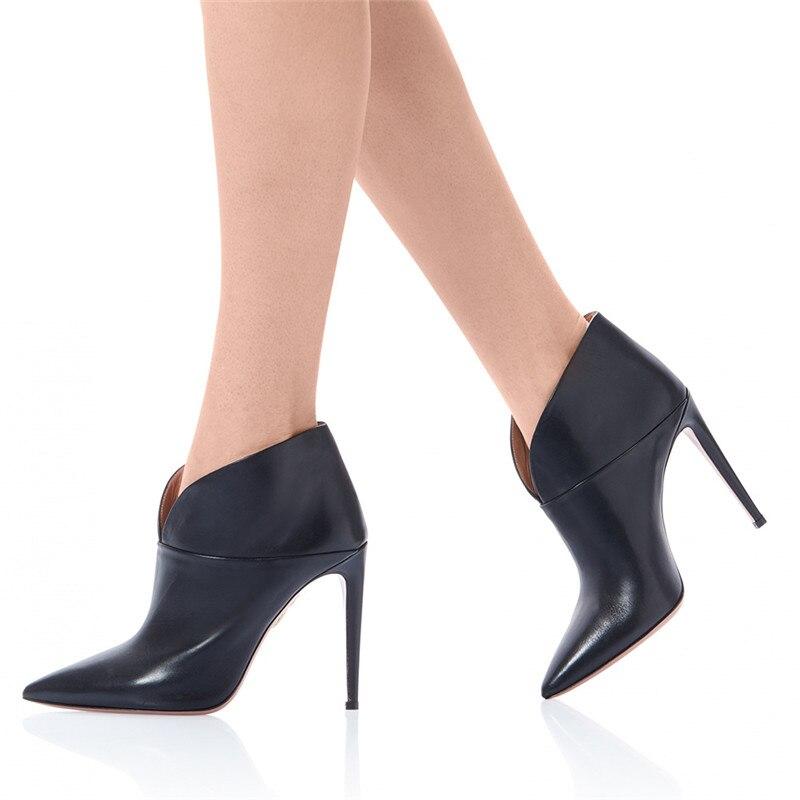 Tacón Mujer Defilè Invierno Zapatos Otoño Punta Tamaño Plus De Sexy Botas Keaiqianjin Chelsea Negro Tobillo 43 Alto 84nq5HHa