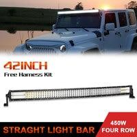 42 дюймов изогнутый светодиодный свет бар 744 Вт Авто Работа дальнего света для внедорожной лодки автомобиля Грузовик 4x4 Combo светодиодный фона