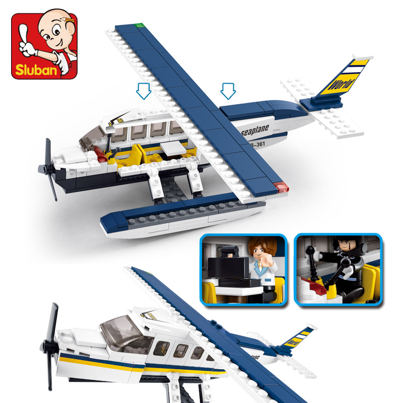Sluban Model font b Toy b font Compatible with Lego B0361 214pcs Figures Set Hydroplane Model