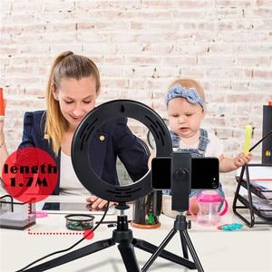 Image 5 - 5 zoll LED Selfie Ring Licht Stativ Telefon Halter für YouTube Video Make Up Fotografie Flash Mini Kamera Helle Lampe 3 modus