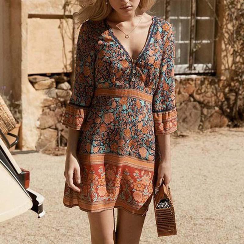 Élégant été Boho robe femmes 2019 sept manches lâche Mini robes col en V vacances Floarl imprimer plage Sexy robe Rode Femme