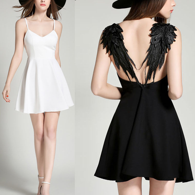 be2fd4a148347 US $29.98 |2018 summer sexy mini dress Women's Plunge V neck Angel Wings  Open Back Skater Evening Party Cami Mini Dress-in Dresses from Women's ...