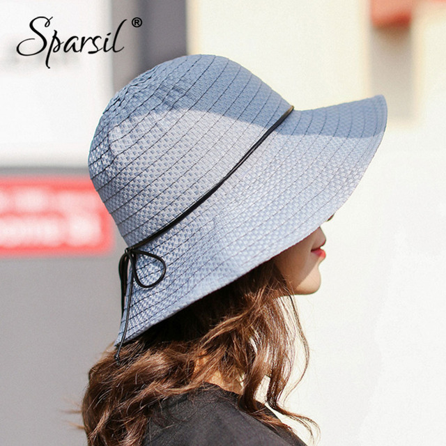 Sparsil Women Summer Sun Hats Slim Bowknot Foldable Big Brim Knitted  Stripes Beach Caps Femal Sun-Protective Panama Straw Hat 559cf70fff8