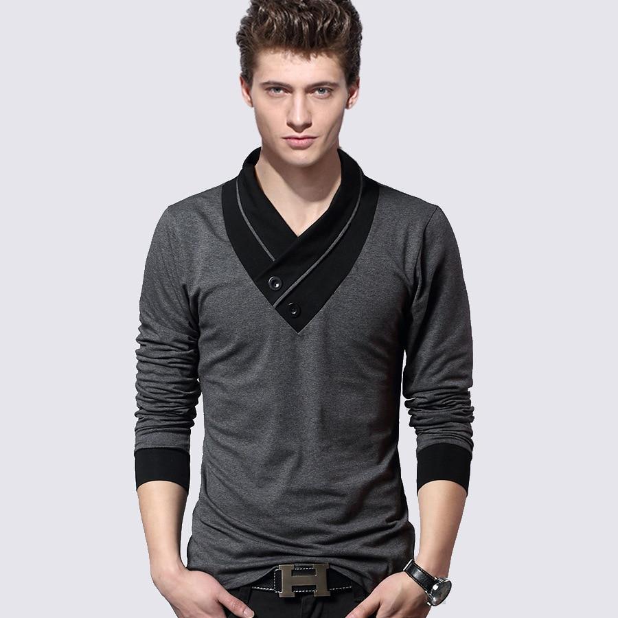 Autumn spring fashion boy s t shirt boss v neck long for Men s dobby shirt