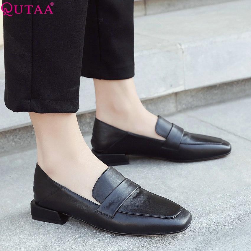 QUTAA 2019 New Cow Leather+pu Women Pumps Fashion Women Shoes Platform lace up Casual Square Heel Women Pumps Size 34 43-in Women's Pumps from Shoes    1