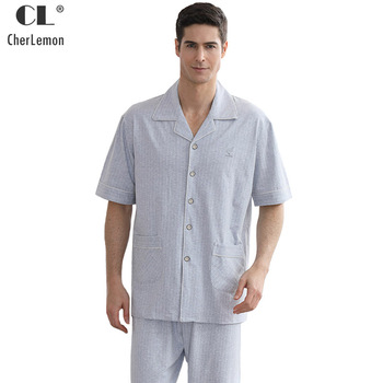 CherLemon Colored Cotton Men Pajamas Summer Short Sleeve Top and Long Pants Pyjama Sets Male Sleepwear Leisure Home Wear M-4XL