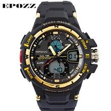 EPOZZ Brand new digital watch for men dual display sports watches fashion LED shockproof waterproof watches rubber strap 1703 цена в Москве и Питере