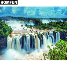 HOMFUN Full Square/Round Drill 5D DIY Diamond Painting Forest waterfall Embroidery Cross Stitch Home Decor Gift A06225