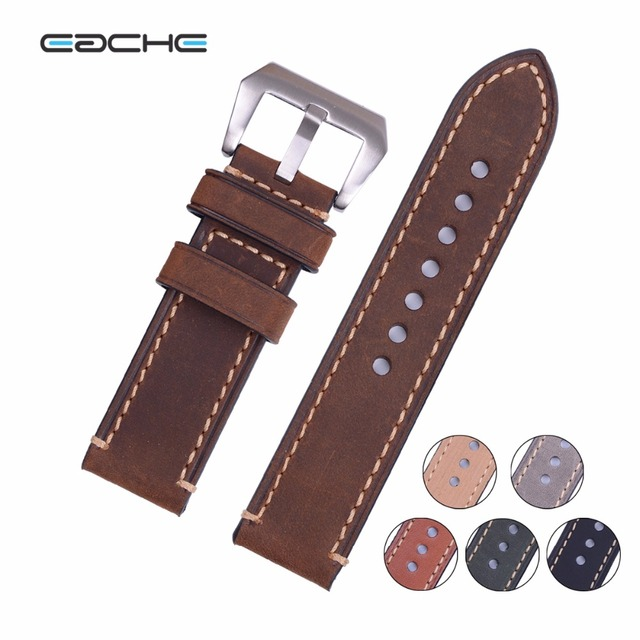 Handmade Retro Genuine Leather Watch Band Strap for P Watch 20mm 22mm 24mm 26mm With Silver Stainless steel Buckles