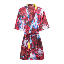 Daeyard Silk Satin Short Robe Overall Print Floral Kimono Sexy Bathrobe Sleepwear Bride Bridesmaid Summer Dressing Gown