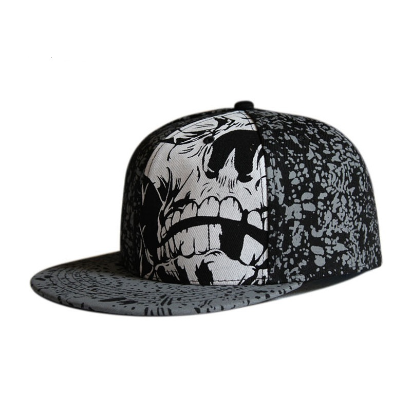 Full close hip hop skull   cap   whole closure women men's leisure flat brim bill hip hop   baseball     cap   fitted snapback hat