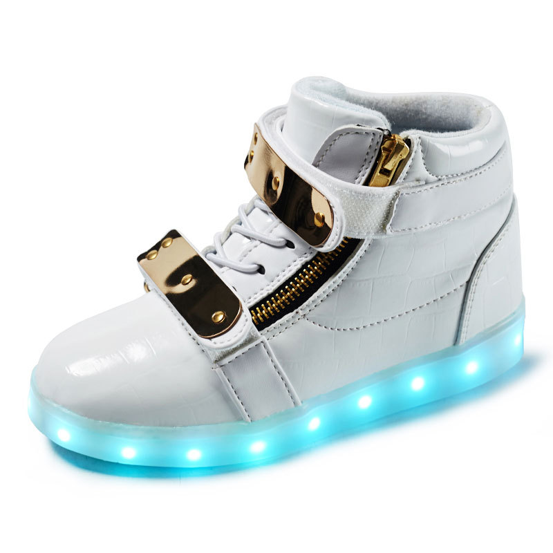 Led luminous Double hook&loop Shoes For Boys girls Fashion Light Up Casual kids Breathable Children Sneakers
