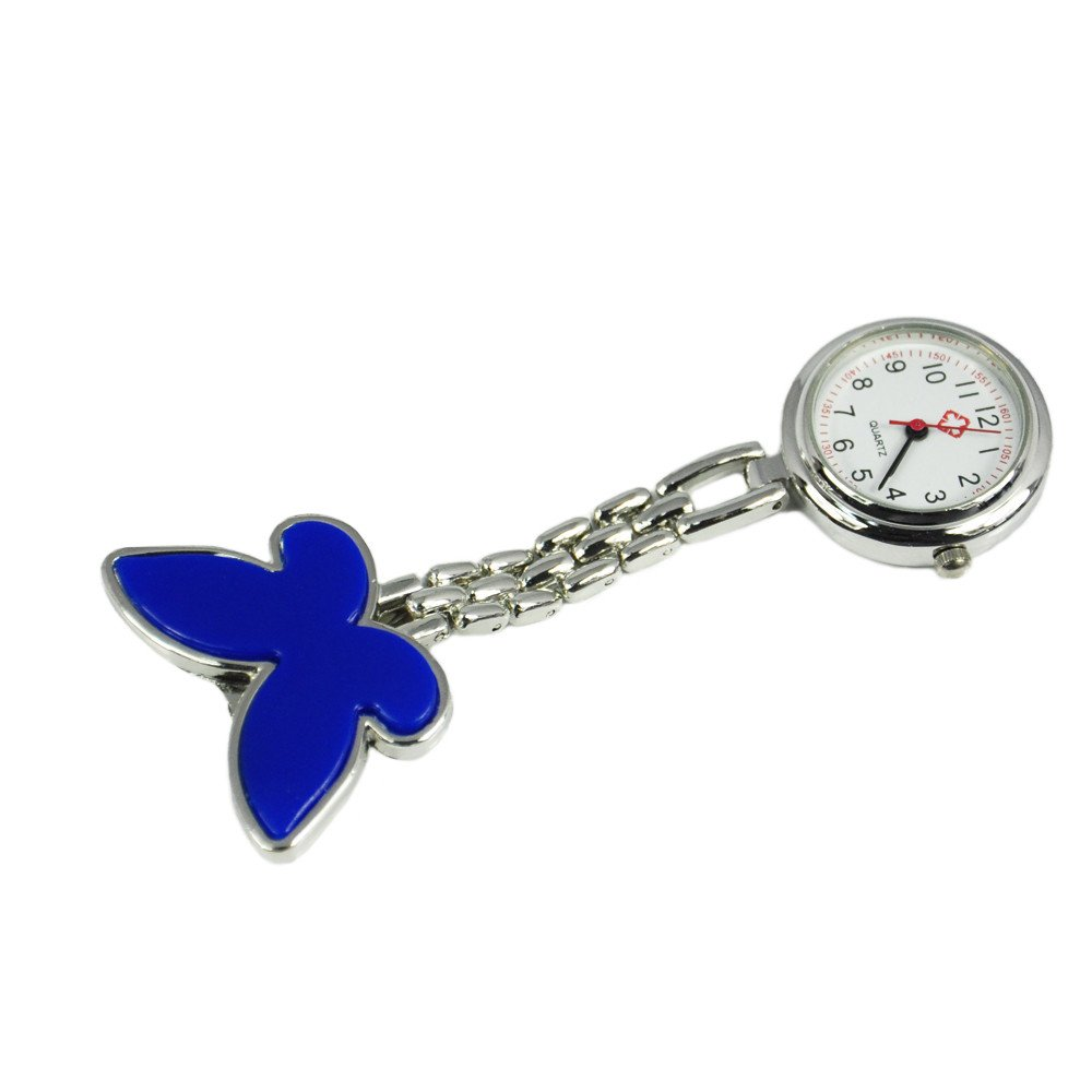 Practical Delicate Stainless Steel Quartz Nurse/Doctors Pocket Fob Watch With Blue Butterfly Decoration