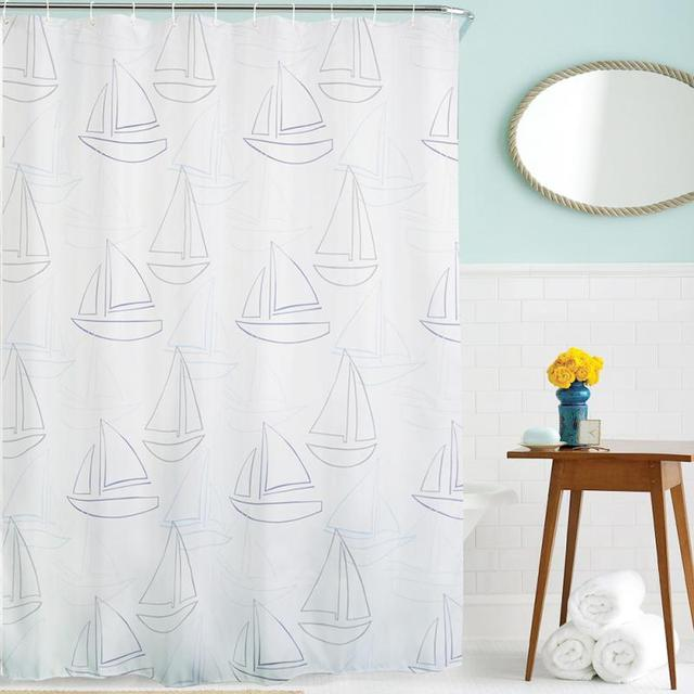 Original (senHome) Blue Sailor Pattern lantern Waterproof Curtains ...