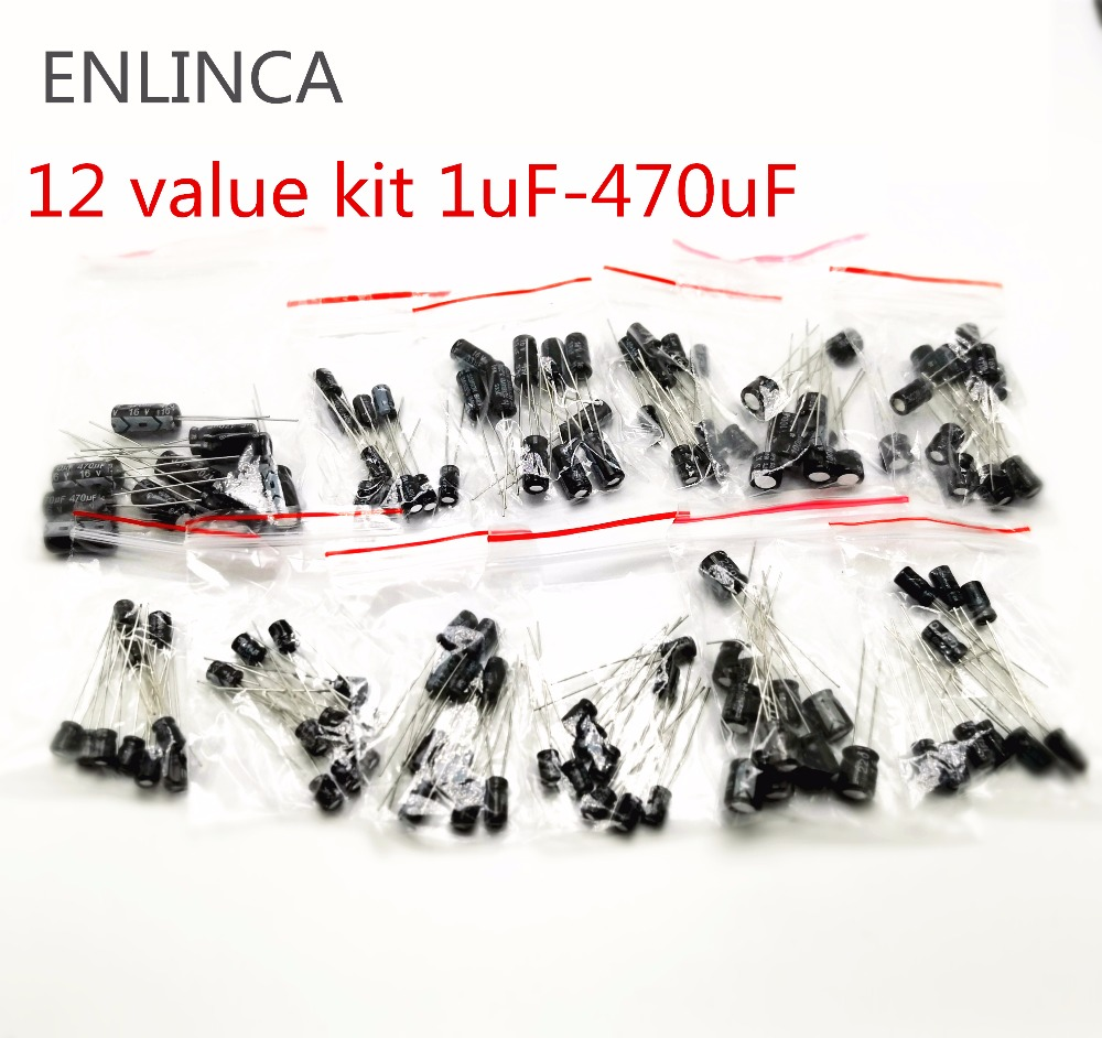 120pcs 12 Value Kit 1uF - 470uF Electrolytic Capacitor Assortment Set Pack 1UF 2.2UF 3.3UF 4.7UF 10UF 22UF 33UF 47UF 100UF 220UF