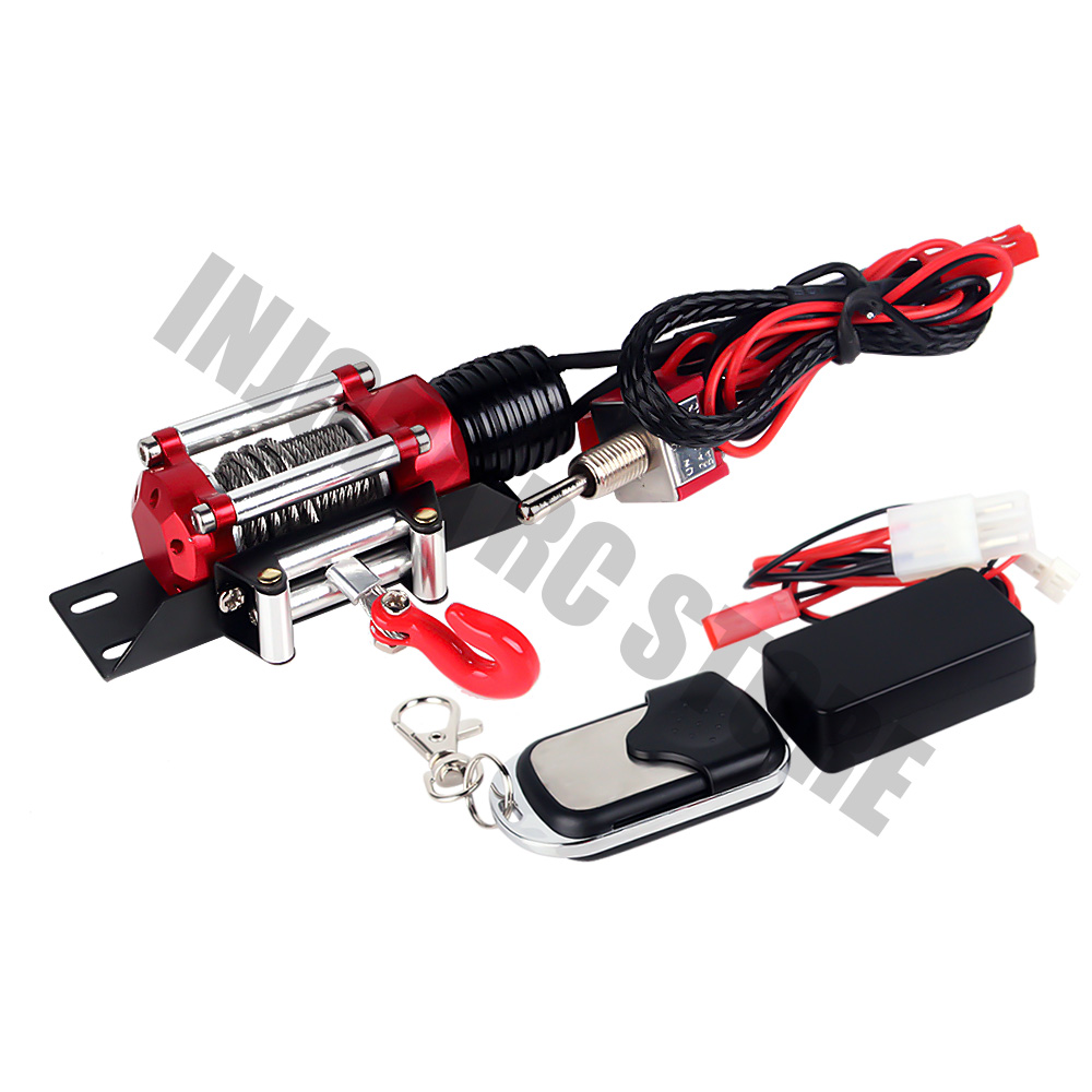 Metal Electric Winch& Wireless Remote Controller Receive For 1/10 RC Crawler Traxxas TRX4 Axial SCX10 90046 D90 D110