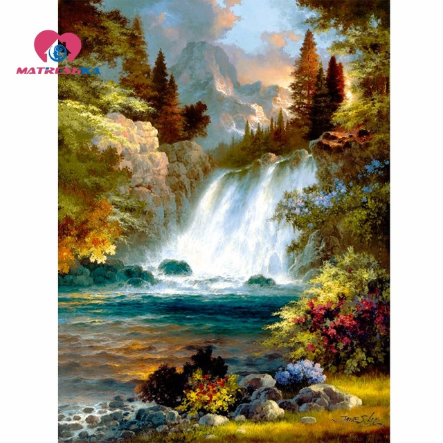 Diamond Embroidery Nature Mosaic Pictures 5d Diy Painting Full Display Rhinestone Art
