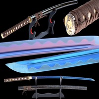 Shijian السيوف اليدوية شارب اليابانية كاتانا شفرة عالية الكربون الصلب الأرجواني الأزرق السيف الساموراي كاتانا كامل تانغ القطار الحاضر