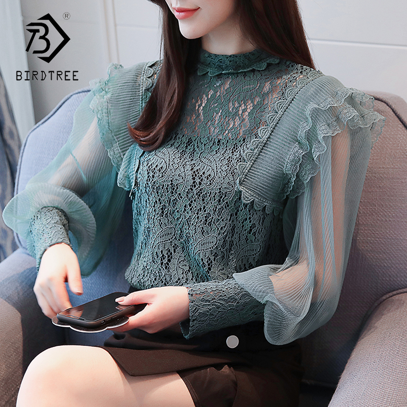 2018 Spring Women Lace Blouse Long Sleeve Fashion Blouses and Shirts Hollow Out