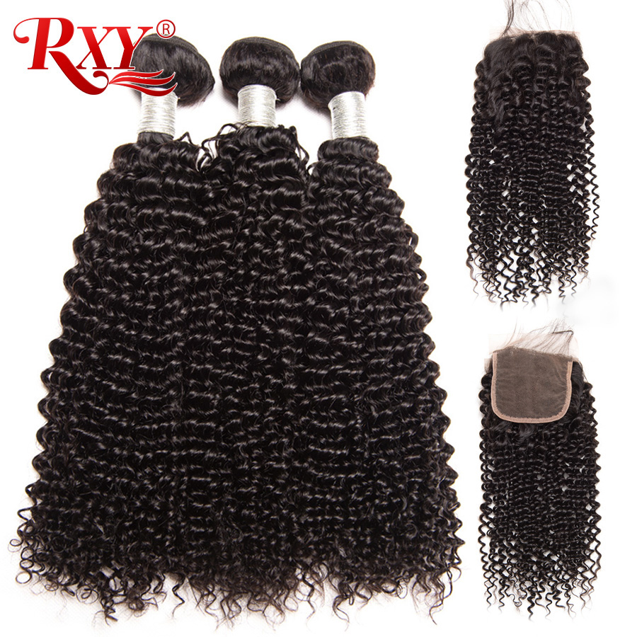 RXY Brazilian afro Kinky Curly Hair Weave 3 Bundles With Closure Top Human Hair Bundles With