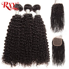 RXY Brazilian afro Kinky Curly Hair Weave 3 Bundles With Closure Top Human Hair Bundles With Closure 4pcs/lot Deals Weft NonRemy(China)