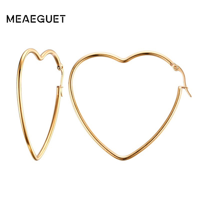 Meaeguet Women S Elegant Heart Hoop Earring Gold Color Stainless Steel Hollow Circle Earrings Ear