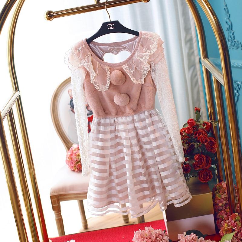 Принцесса сладкий Лолита платье он выдалбливают сплайсинга платье в полоску милые волосы лампочка Персиковое сердце бутон шелк с длинным рукавом UF47