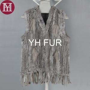 Image 4 - Winter women real rabbit fur vest with tassel lady knit 100% real rabbit fur jacket sleeveless coat 2018 new fashion