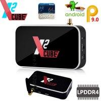 X2 CUBE Smart Android 9.0 TV Box Amlogic S905X2 2GB DDR4 16GB ROM Set Top Box 2.4G/5G WiFi 1000M Bluetooth 4K HD Media Player