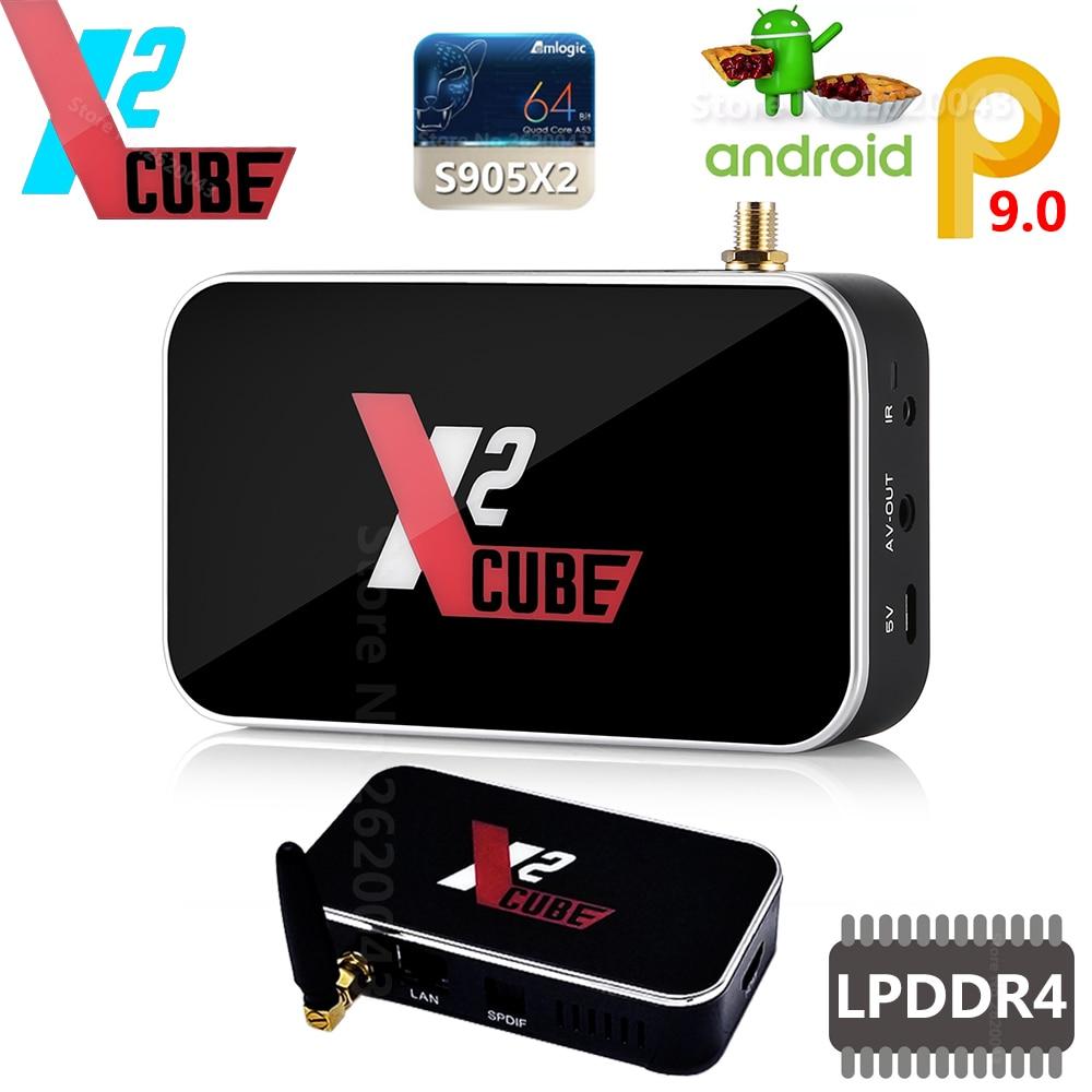 X2 cubo Smart Android 9,0 TV Box Amlogic S905X2 2GB DDR4 16GB ROM Set Top Box 2,4G /5G WiFi 1000M Bluetooth 4K HD reproductor de medios