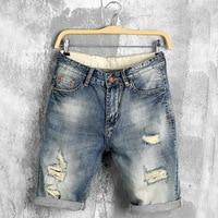 2016 New Mens Denim Shorts Summer Regular Casual Knee Length Short Cotton Summer Style Hole Jeans