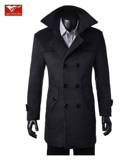 2017 hombres de invierno de la marca nueva moda slim fit doble botonadura de lana trench coat jacket pea abrigos ropa envío gratis M-3XL