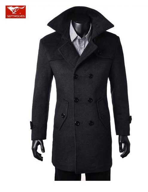 2017 men s brand winter new slim fit double breasted fashion wool trench coat jacket pea