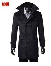 2017 мужская бренд зима новый slim fit двубортный мода шерсти пальто куртки гороха пальто одежда бесплатная доставка M-3XL