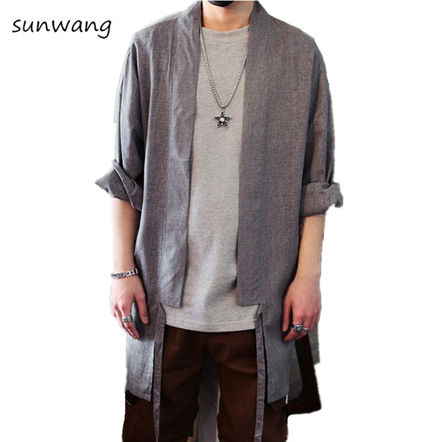 Marca Harajuku japonés Kimono diseñador camisas para hombre moda 2018  primavera vestido Casual Vintage chino Lino 419af0d93d4cd