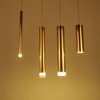 Nordic Modern Gold LED Pendant Lights bedroom dinning room kitchen Cylindrical pendant light home droplight fixture
