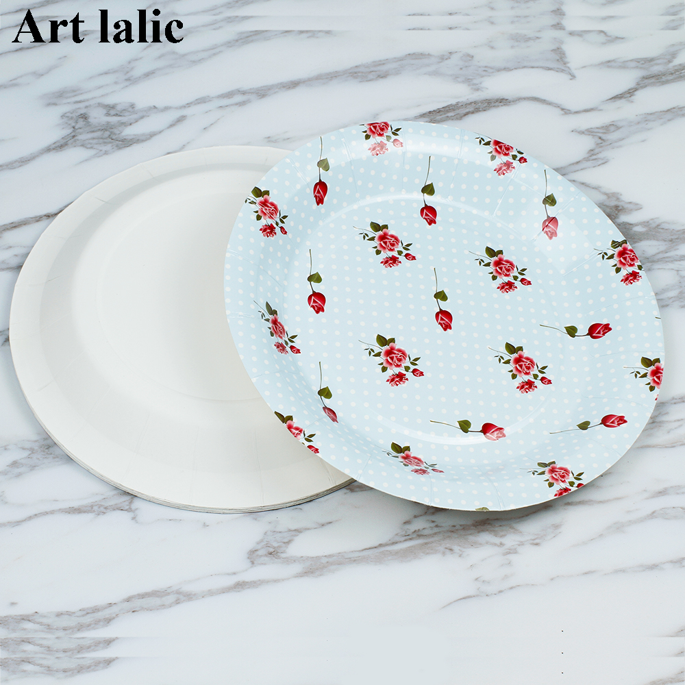 Colorful Rose flower Paper Plates for Valentine Birthday Wedding Party disposable Tableware Party Supplies CP068-in Disposable Party Tableware from Home ... & Colorful Rose flower Paper Plates for Valentine Birthday Wedding ...