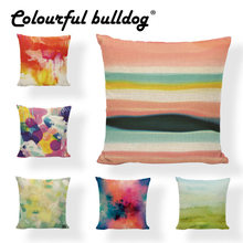 Doodle Elements Cushion Cover Watercolor Blue Rainbow Dots Pattern Pillowcases Car Seat Family Backyard Rocking Chair Sofa Decor(China)